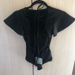 Black sleeve lace up bodysuit
